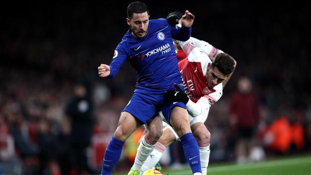 Eden Hazard was again fielded as a 'false nine' for Chelsea at Arsenal (Nick Potts/PA)