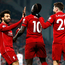 Sadio Mane celebrates scoring Liverpool's fourth goal against Crystal Palace with team-mates Mohamed Salah and Adam Lallana. Photo: Darren Staples
