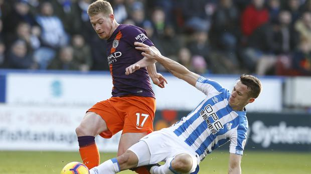 Kevin De Bruyne, left, made his first Premier League start since Boxing Day (Martin Rickett/PA)