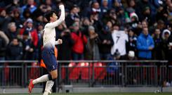 Son Heung-min celebrates Tottenham's winner against Newcastle (Steven Paston/PA)