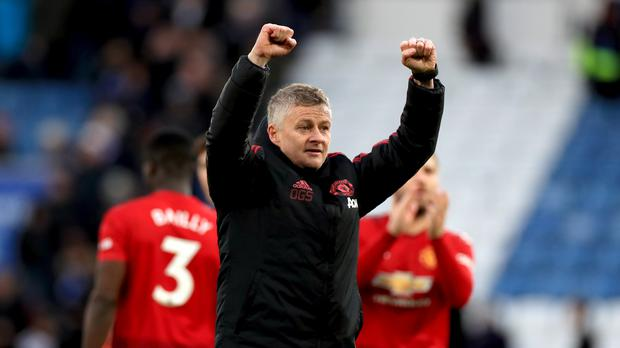 Ole Gunnar Solskjaer celebrates victory over Leicester (Mike Egerton/PA)