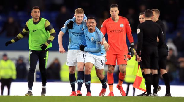 Gabriel Jesus, centre, scored as Manchester City returned to the top of the Premier League (Peter Byrne/PA)
