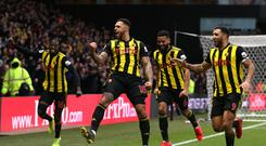 Watford's Andre Gray celebrates scoring the winner against Everton (Nigel French/PA)