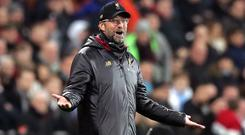 Jurgen Klopp was not happy with the officials during Liverpool's draw at West Ham (Adam Davy/PA)