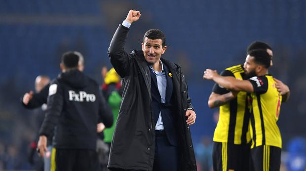 Watford manager Javi Gracia celebrates after the Hornets' 5-1 Premier League win at Cardiff (Simon Galloway/PA)