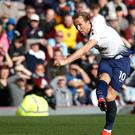 Harry Kane lets fly during the defeat by Burnley (Martin Rickett/PA)