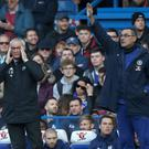 Chelsea head coach Maurizio Sarri, right, is wary of a response from Fulham following their sacking of Claudio Ranieri, left (Andrew Matthews/PA)