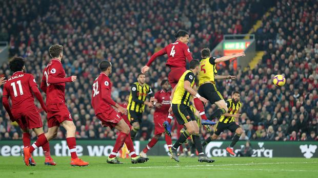 Manager Jurgen Klopp wants to see more players like Virgil Van Dijk add to Liverpool's goal tally (Richard Sellers/PA)