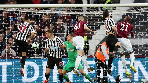 West Ham'sDeclan Rice scores his side's first goal against Newcastle (Paul Harding/PA)
