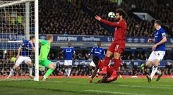 Liverpool are a point adrift of Manchester City after a goalless draw at Goodison (Peter Byrne/PA)