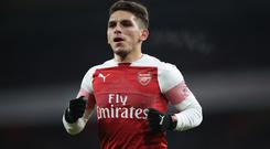 Lucas Torreira was shown a red card during stoppage time at Wembley (Nick Potts/PA Images)