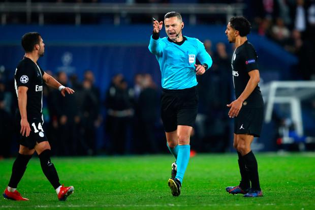 Damir Skovina awards a penalty to Manchester United against PSG in last season's Champions League