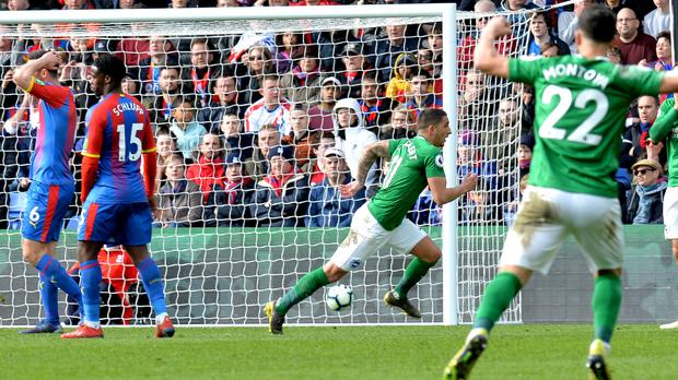Brighton and Hove Albion's Anthony Knockaert (second right) celebrates scoring his side's second goal of the game during the Premier League match at Selhurst Park, London.