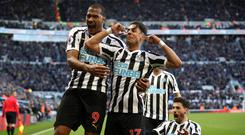 Ayoze Perez, right. celebrates with Salomon Rondon after scoring Newcastle's winner against Everton (Owen Humphreys/PA)