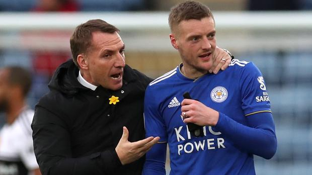 Leicester manager Brendan Rodgers (left) and striker Jamie Vardy after the final whistle against Fulham, (Chris Radburn/PA)