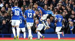 Richarlison and Gylfi Sigurddson (centre) were on target for Everton (Martin Rickett/PA)