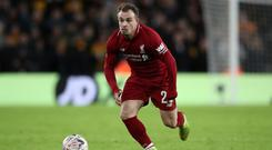 Liverpool winger Xherdan Shaqiri has pulled out of Switzerland's squad with an injury (Nick Potts/PA)