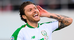 Jeff Hendrick celebrates after scoring what proved to be the winning goal in the Republic of Ireland's victory over Gibraltar in yesterday's Euro 2020 qualifier game at Victoria Stadium. Photo: Stephen McCarthy/Sportsfile