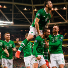 Conor Hourihane (centre) celebrates scoring the winner against Georgia with Robbie Brady, James McClean, Shane Duffy and Richard Keogh. Photo: Sportsfile