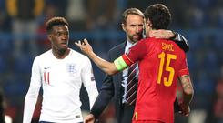Montenegro's Stefan Savic (right) and England head coach Gareth Southgate (centre) shake hands after the final whistle during the UEFA Euro 2020 Qualifying, Group A match at the Podgorica City Stadium.