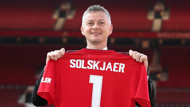Ole Gunnar Solskjaer at his official unveiling as permanent Manchester United manager. (Martin Rickett/PA)