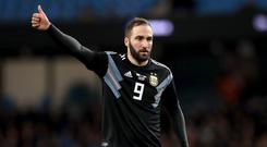 Gonzalo Higuain has called time on his international career with Argentina. (Martin Rickett/PA)