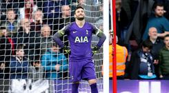 Tottenham goalkeeper Hugo Lloris accepted his share of the blame for Liverpool's 90th-minute winner at Anfield (Andrew Matthews/PA)