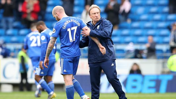 Cardiff manager Neil Warnock, left, saw his side suffer a controversial late home defeat (Nick Potts/PA)