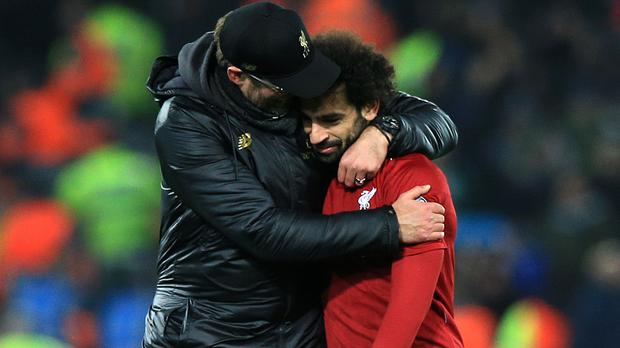 Jurgen Klopp (left) and Mohamed Salah