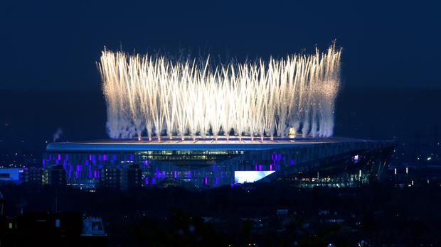 A firework display ahead of kick-off at the Tottenham Hotspur Stadium (Yui Mok/PA)