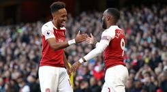 Alexandre Lacazette, right, and Pierre-Emerick Aubameyang are two of the best strikers Arsenal manager Unai Emery has worked with. (Nick Potts/PA)