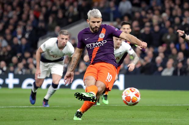Sergio Aguero missed from the spot in Man City's Champions League loss at Tottenham (Adam Davy/PA)