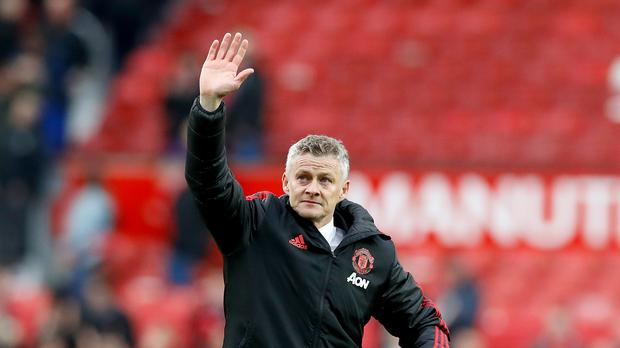 Manchester United manager Ole Gunnar Solskjaer acknowledges the crowd after the final whistle during a Premier League match at Old Trafford, Manchester.