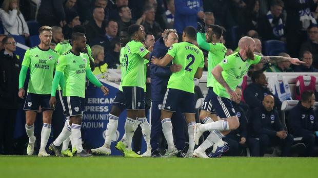 Cardiff's Nathaniel Mendez-Laing, centre, celebrates scoring his side's first goal against Brighton (Andrew Matthews/PA)