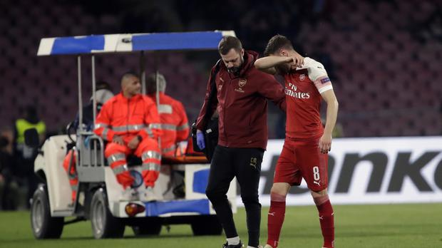 Aaron Ramsey limped out of Arsenal's Europa League win over Napoli (Luca Bruno/AP).