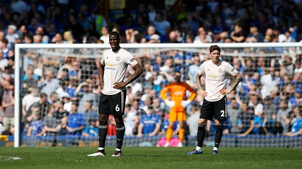 Manchester United's Paul Pogba (left) and Victor Lindelof are left stunned after conceding another goal.