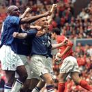 Sean Dyche, centre, and Chesterfield's celebrations were snuffed out by an error from the officials (PA)