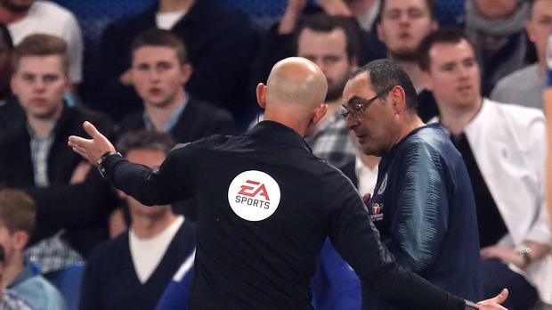 Maurizio Sarri was sent off late on (Adam Davy/PA)
