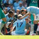 Kevin De Bruyne was injured during the win over Tottenham (Martin Rickett/PA)