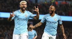 Sergio Aguero, left, and Raheem Sterling have both been included in the PFA's Premier League Team of the Year 2019 (Martin Rickett/PA)