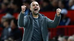 Pep Guardiola's Manchester City were 2-0 winners at Old Trafford (Martin Rickett/PA)