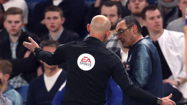 Maurizio Sarri is sent from the touchline on Monday night (Adam Davy/PA)