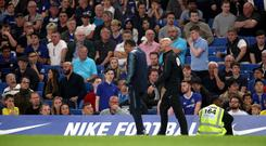 Chelsea head coach Maurizio Sarri was sent to the stands on Monday night (Adam Davy/PA)