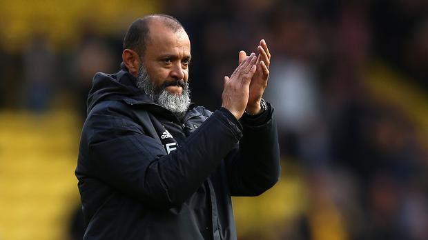 Wolverhampton Wanderers manager Nuno Espirito Santo celebrates after the Premier League match at Vicarage Road, Watford.