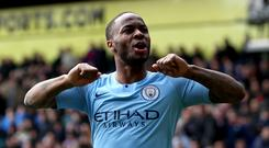 Manchester City forward Raheem Sterling took more than 60 per cent of the FWA vote (Steven Paston/PA)