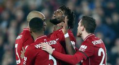 Divock Origi celebrates his winner for Liverpool (Richard Sellers/PA)