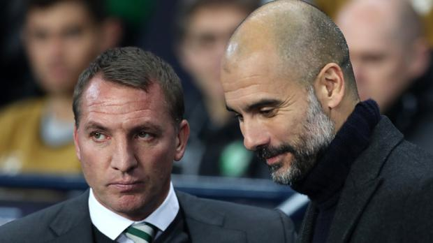 Brendan Rodgers believes Pep Guardiola enjoys the title pressure (Martin Rickett/PA)