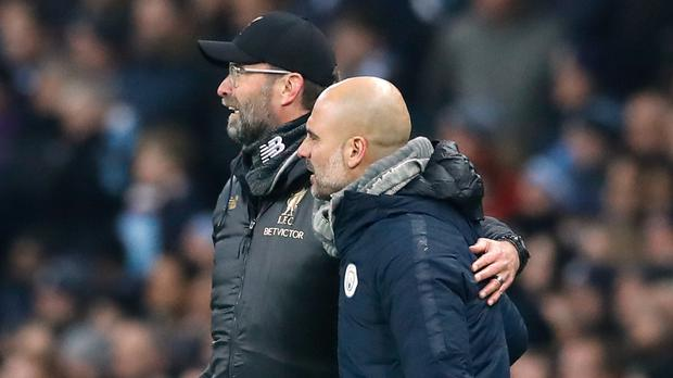 What will separate Liverpool manager Jurgen Klopp (left) and Manchester City boss Pep Guardiola (right) when the final whistle blows on the Premier League title race? (Martin Rickett/PA)
