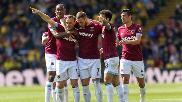 Mark Noble, second left, celebrates his first goal (Paul Harding/PA)