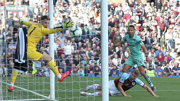 Pierre-Emerick Aubameyang (right) scores his second of the game (Nigel French/PA)
